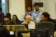 Khieu Samphan and his Foreign Co-Lawyers waiting in the courtroom on 7 August 2014