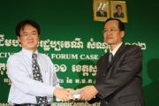 Mr. RONG Chhorng, Chief of VSS, handed case 001 Verdict to Mr. KEO Sothea, Provincial Prosecutor